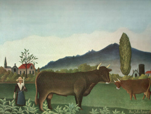 """1960 Art Print """"Landscape With Cattle"""" by Henri Rousseau Free Shipping"""