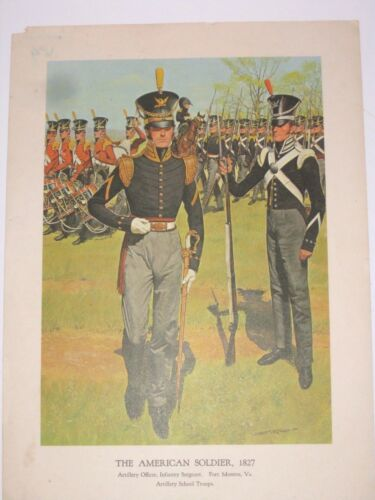 1960s Art Print The American Soldier 1827 The Military History Series Collection
