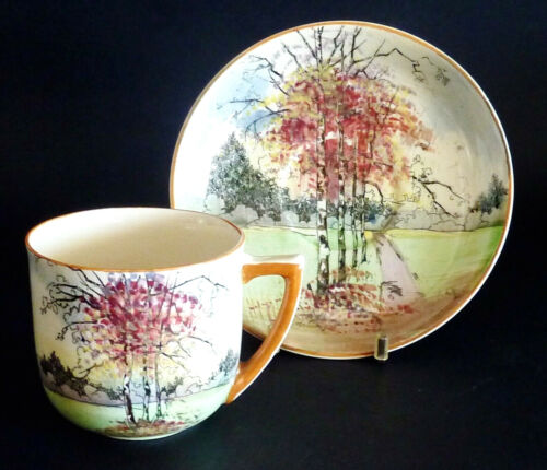 Vintage ROYAL DOULTON Series ware AUTUMN GLORY hand painted CUP& SAUCER D4714