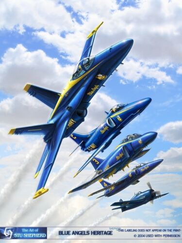 """USN Four US Navy """"Blue Angels"""" F//A-18C Hornet aerial demonstration 8X12 PHOTO"""