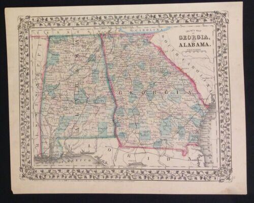 """""""Mitchell's County Map of GA and AL,"""" ca. 1870"""