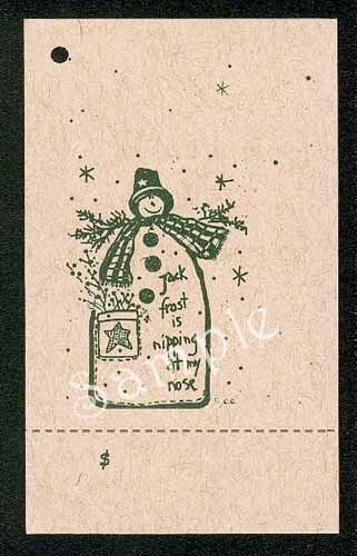 50 JACK FROST HANG TAGS CHRISTMAS PERFORATED COUNTRY