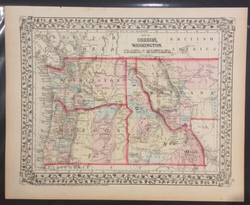 "S. Augustus Mitchell: ""Map of OR, WA, ID & Part of MT"""