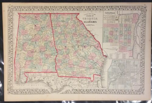 """Mitchell: """"County Map of the States of GA and AL"""" 1874"""