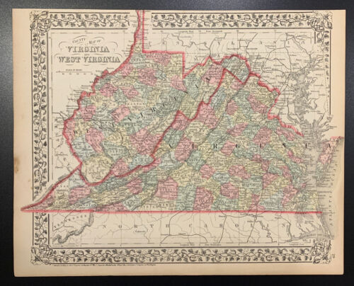 """Mitchell: """"County Map of Virginia and W Virginia,"""" 1874"""