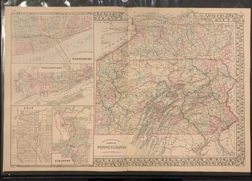 """Mitchell: """"County Map of State of Pennsylvania,"""" 1874"""
