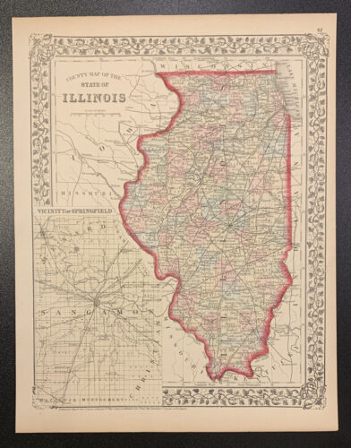 """Mitchell: """"County Map of the State of Illinois,"""" 1874"""